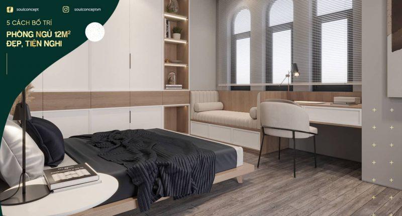(Chọn lọc) 5 cách bố trí phòng ngủ 12m2 đẹp, tiện nghi, hiện đại