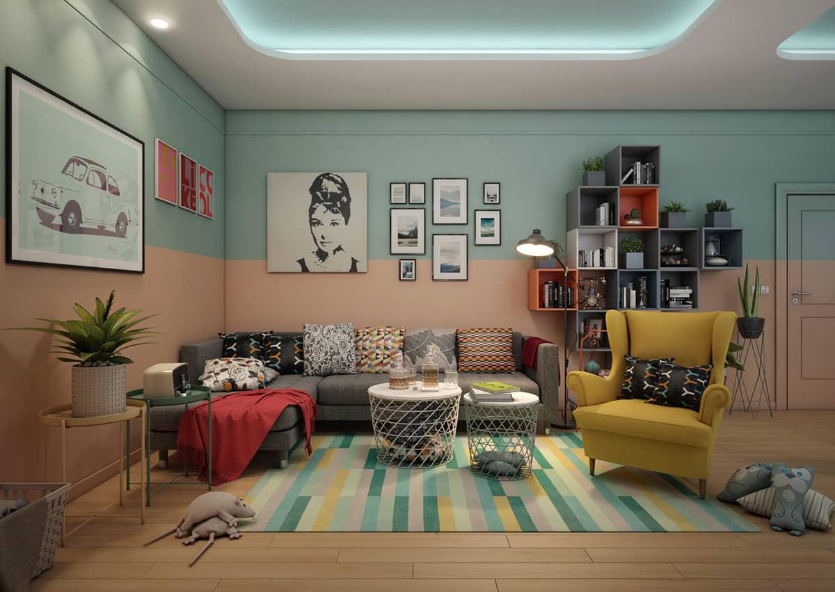Phong cách Retro tạo điểm nhấn bởi đồ nội thất gam màu nóng không quá gắt