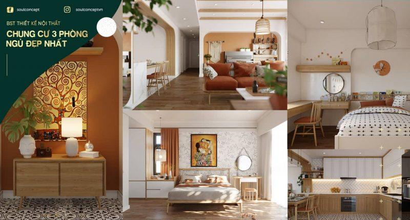 Bộ sưu tập mẫu thiết kế nội thất chung cư 3 phòng ngủ đẹp nhất 2021