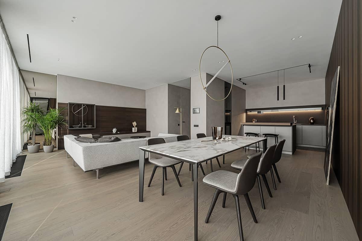Thiết kế chung cư 90m2 với phòng bếp liền với phòng khách