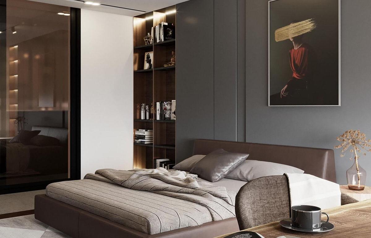 Thiết kế phòng ngủ vô cùng rộng rãi với đầy đủ tiện nghi.