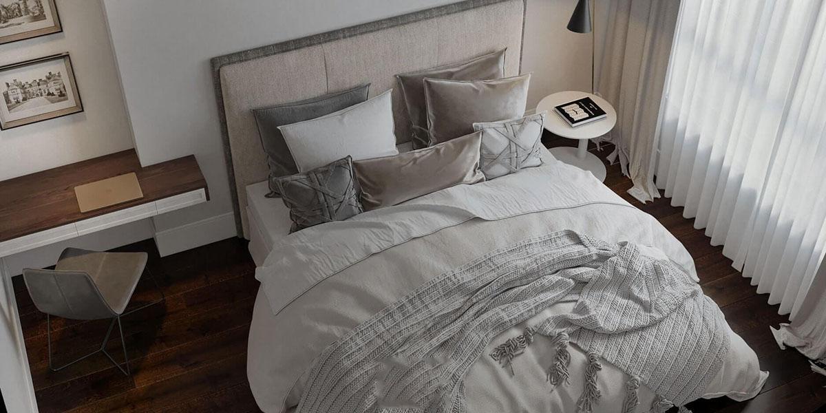 Nội thất phòng ngủ mang hơi hướng hiện đại với tone màu trắng