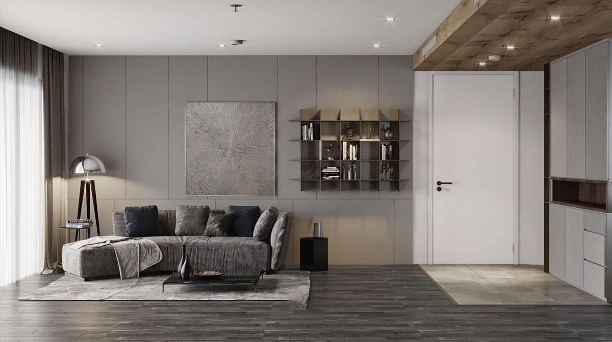 Phòng khách vô cùng đơn giản với bộ ghế sofa nhỏ gọn