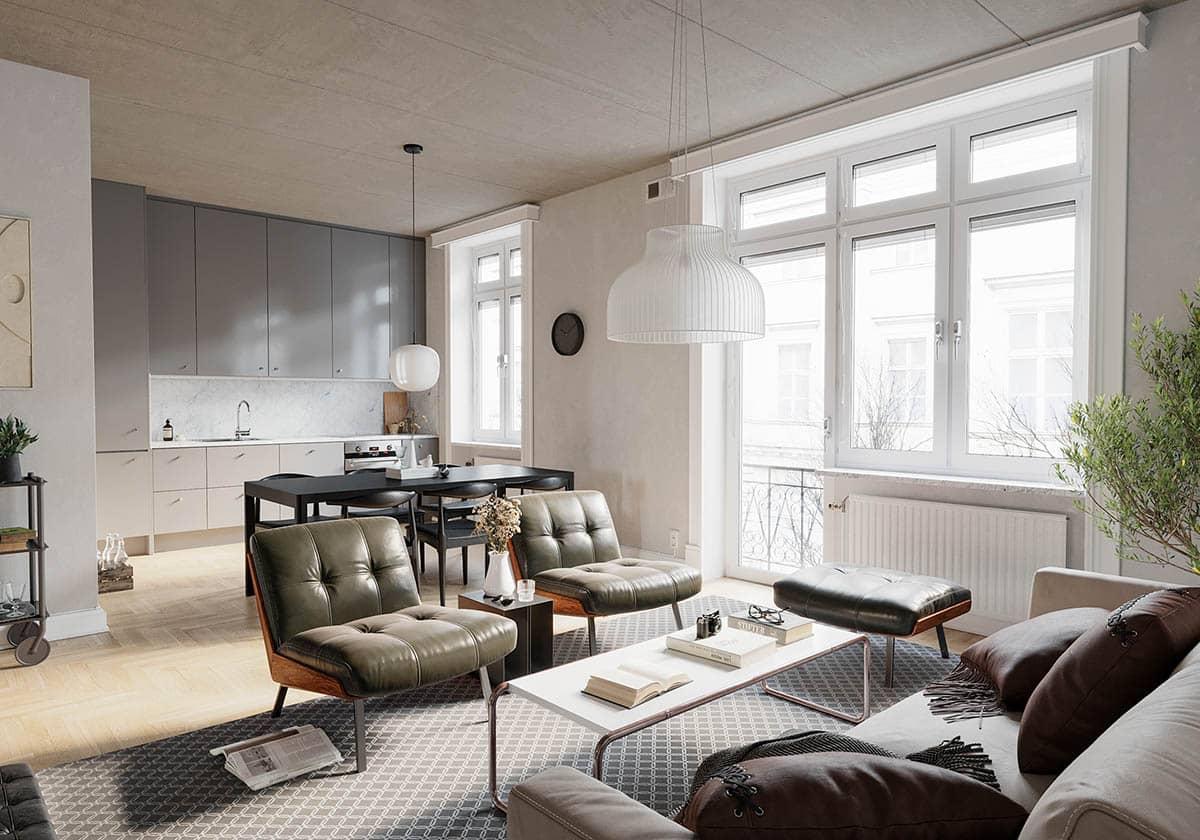Ánh sáng là yếu tố tiên quyết trong thiết kế nội thất Scadinavian