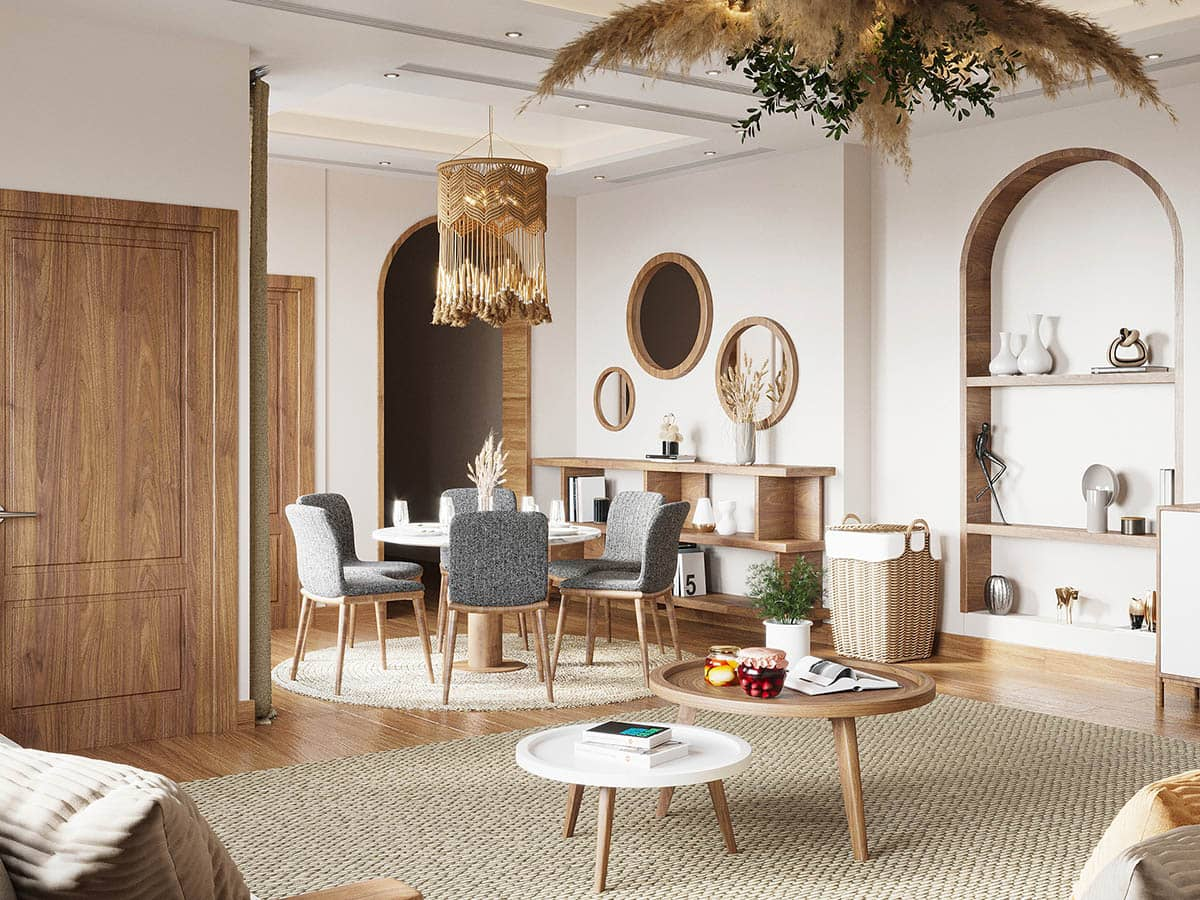 Đồ nội thất Scandinavian thường sử dụng chất liệu gỗ