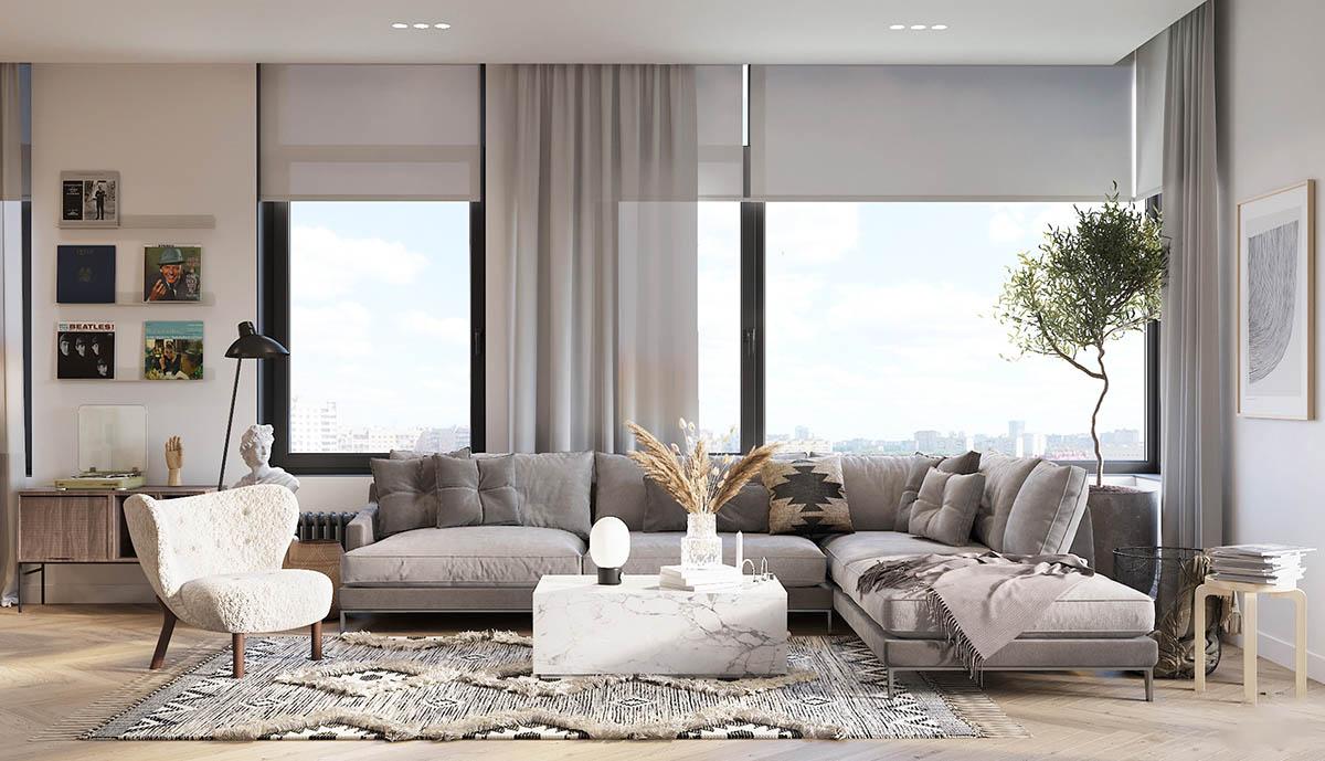 Thiết kế căn phòng Scandinavian với bàn bằng đá