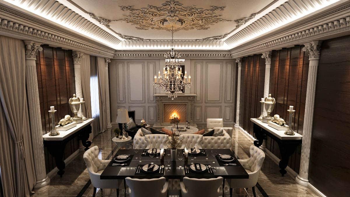Thiết kế phòng khách theo phong cách châu Âu cổ điển
