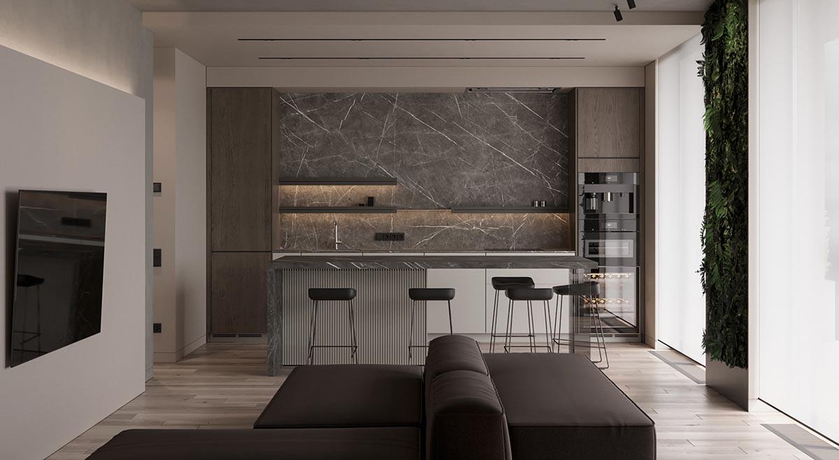Phòng bếp liền kề phòng khách sử dụng những tông màu trung tính tạo nét sang trọng, hiện đại