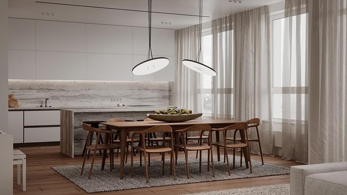 Phòng bếp được thiết kế màu sắc trang nhã, nhẹ nhàng