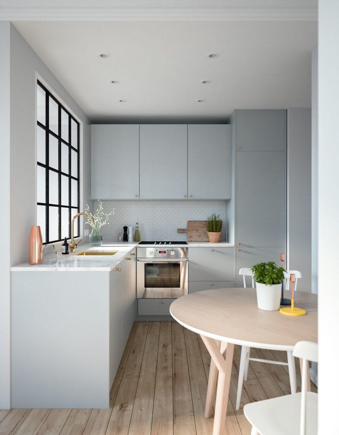 Thiết kế cửa sổ ngay bàn bếp để tạo sự lưu thông khí và thoát mùi hiệu quả