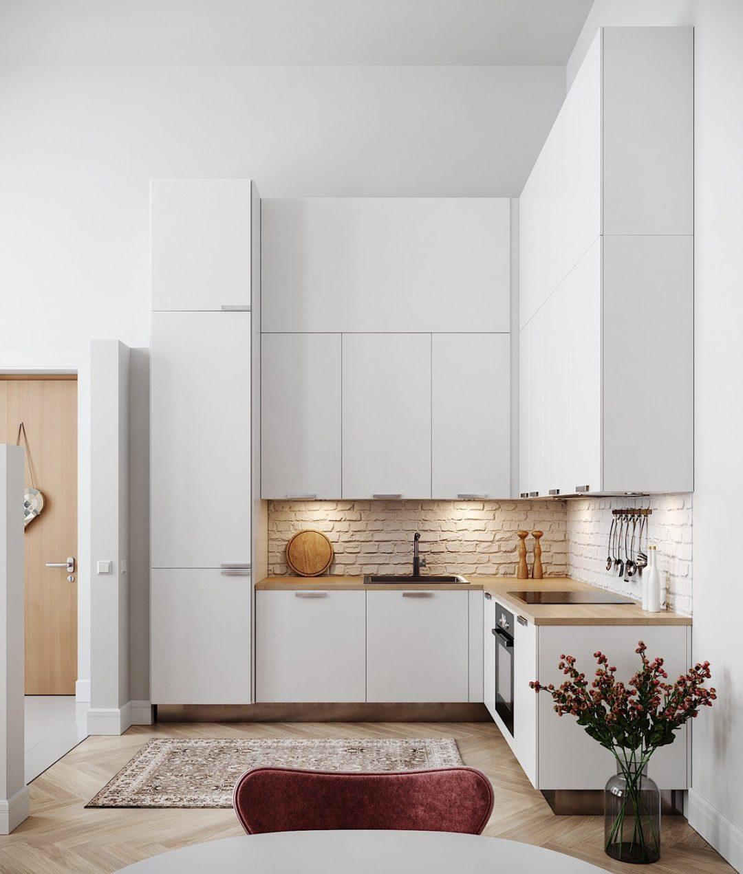 Thiết kế phòng bếp nhỏ đẹp với gam màu trắng trang nhã