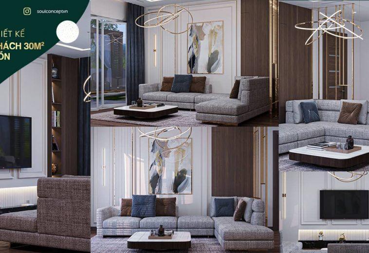 Thiết kế nội thất phòng khách 30m2 đẹp mê hồn